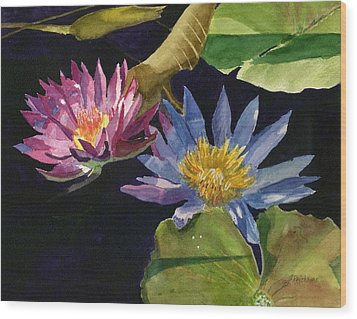 Water Lilies Wood Print by Lynne Reichhart