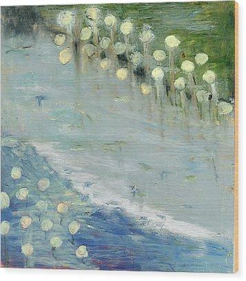 Water Lilies Wood Print by Michal Mitak Mahgerefteh
