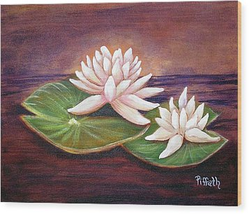 Wood Print featuring the painting Water Lilies by Patricia Piffath