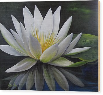 Water Lilly  Wood Print by Katia Aho