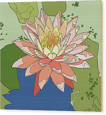 Water Lily And Duck Weed Wood Print by Jamie Downs