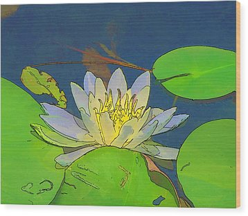 Wood Print featuring the digital art Water Lily by Maciek Froncisz
