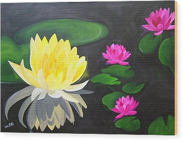 Water Lily Pond  Wood Print by Una  Miller