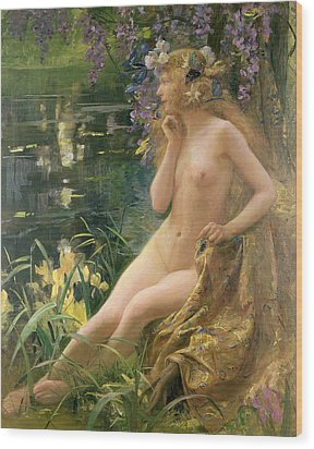 Water Nymph Wood Print by Gaston Bussiere