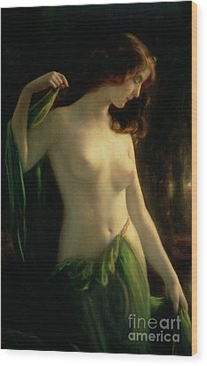 Water Nymph Wood Print by Otto Theodor Gustav Lingner