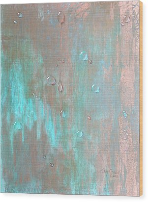 Water On Copper Wood Print by T Fry-Green