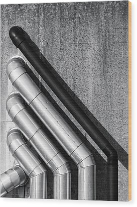 Water Pipes Wood Print by Wim Lanclus