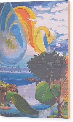 Water Planet Series - Vetor Version Wood Print by Leomariano artist BRASIL