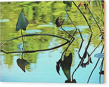 Water Plants Wood Print by Debbie Oppermann