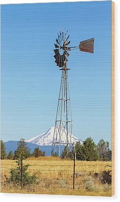 Water Pump Windmill In Central Oregon Farm Wood Print by David Gn