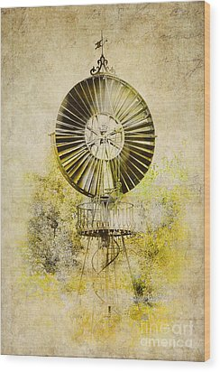 Wood Print featuring the photograph Water-pumping Windmill by Heiko Koehrer-Wagner
