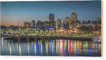 Water Reflecting Lights Sunset Long Beach Ca Wood Print