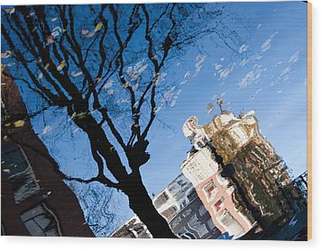Water Reflection - Amsterdam  Wood Print by John Battaglino