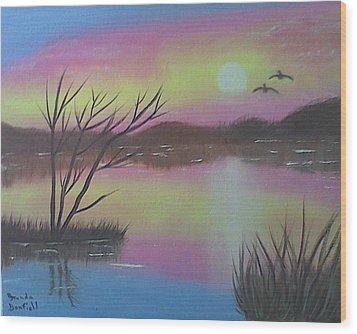 Water Reflections Wood Print by Brenda Bonfield