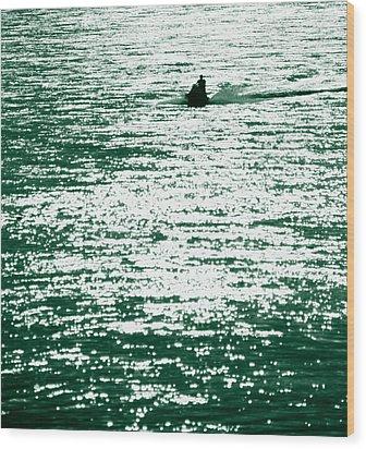 Water Rider Wood Print