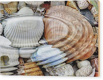Water Ripples Over The Stone Pebbles Wood Print by Michal Boubin