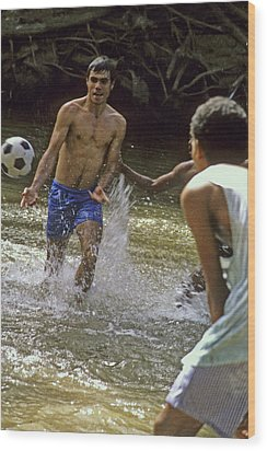 Water Soccer Wood Print