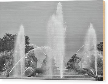 Water Spray - Swann Fountain - Philadelphia In Black And White Wood Print by Bill Cannon