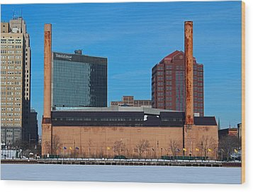 Wood Print featuring the photograph Water Street Steam Plant In Winter by Michiale Schneider