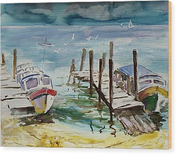 Water Taxis Wood Print by Xueling Zou