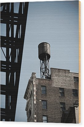 Water Tower And Fire Escape Wood Print by Darren Martin
