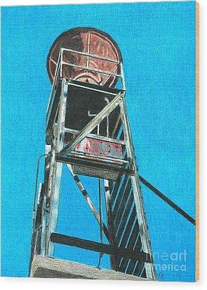 Water Tower Wood Print