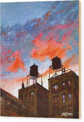 Water Towers At Sunset No. 1 Wood Print