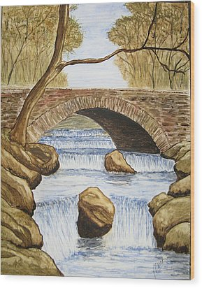 Water Under The Bridge Wood Print by Maris Sherwood
