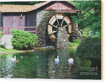 Wood Print featuring the painting Water Wheel Duck Pond by Smilin Eyes  Treasures