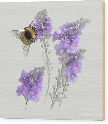 Watercolor Bumble Bee Wood Print by Ivana Westin