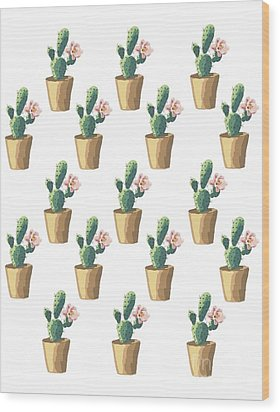 Watercolor Cactus Wood Print by Roam  Images