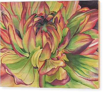 Wood Print featuring the painting Watercolor Dahlia by Angela Armano