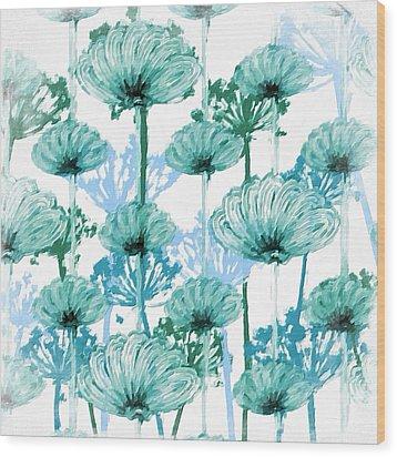 Wood Print featuring the digital art Watercolor Dandelions by Bonnie Bruno