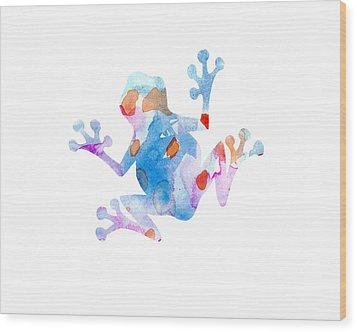 Watercolor Frog Wood Print by Nursery Art