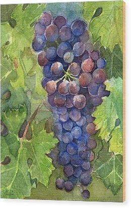 Watercolor Grapes Painting Wood Print by Olga Shvartsur