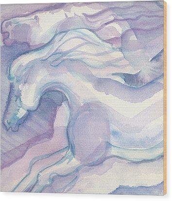 Watercolor Horses II Wood Print by Linda Kay Thomas