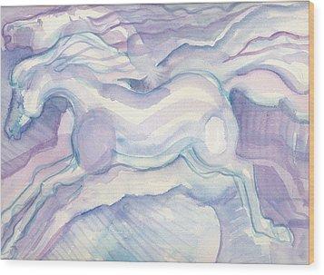 Watercolor Horses Wood Print by Linda Kay Thomas