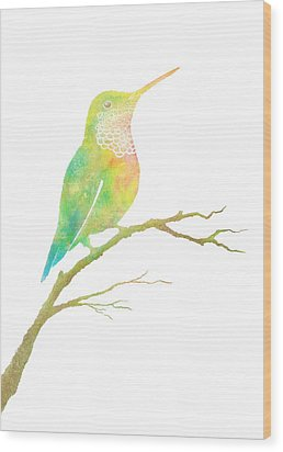 Watercolor Hummingbird Wood Print