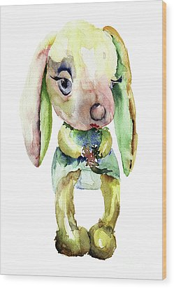 Watercolor Illustration Of Rabbit Wood Print
