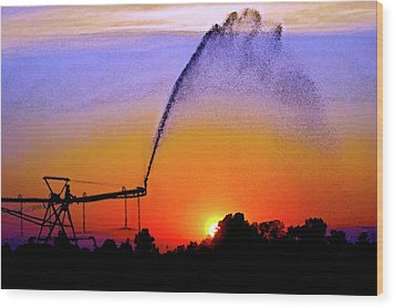 Watercolor Irrigation Sunset 3243 W_2 Wood Print