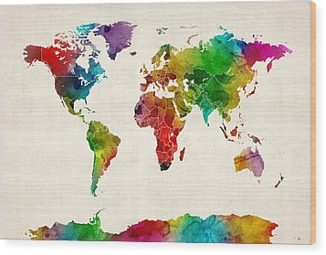 Watercolor Map Of The World Map Wood Print by Michael Tompsett