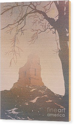 Wood Print featuring the painting Watercolor Painting Of Mayan Temple- Tikal, Guatemala by Ryan Fox