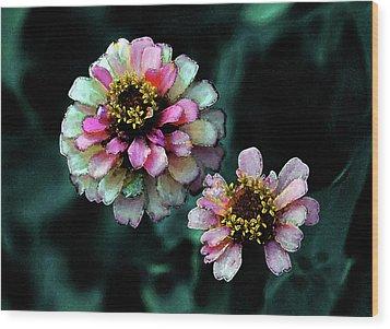 Watercolor Pink Zinnias And Smoke 2227 W_2 Wood Print