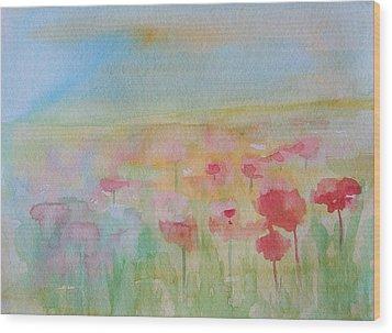 Watercolor Poppies Wood Print