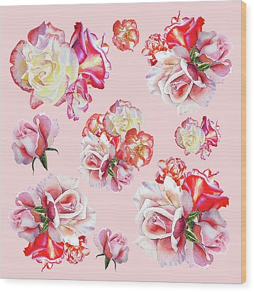 Wood Print featuring the painting Watercolor Roses Pink Dance by Irina Sztukowski