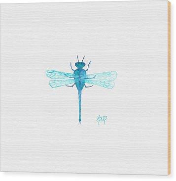 Watercolor Sketch Dragonfly Wood Print by Robert Meszaros