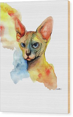 Watercolor Sphynx 2 Wood Print