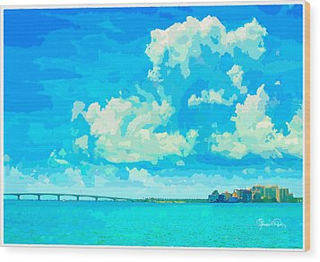Watercolor Spring On Sarasota Bay Wood Print