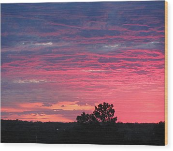 Watercolor Sunset Wood Print by Jerry Browning