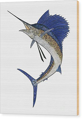 Watercolor Tribal Sailfish Wood Print by Carol Lynne